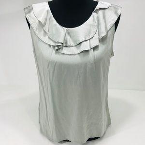 Ann Taylor Silver Ruffle Silk Blouse